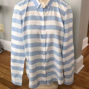 Gap blue/white wide stripe button down shirt, Sm